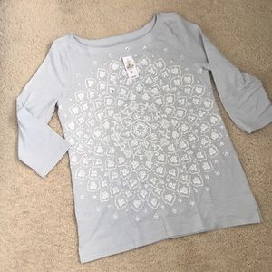 Loft gauzy boatneck patterned shirt